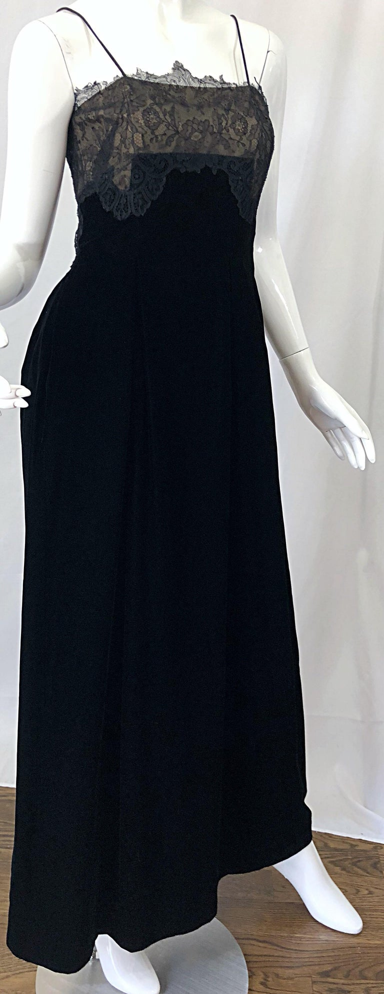 Beautiful Vintage Richilene 1970s Blacks Silk Velvet + Nude Lace Chiffon Gown For Sale 1