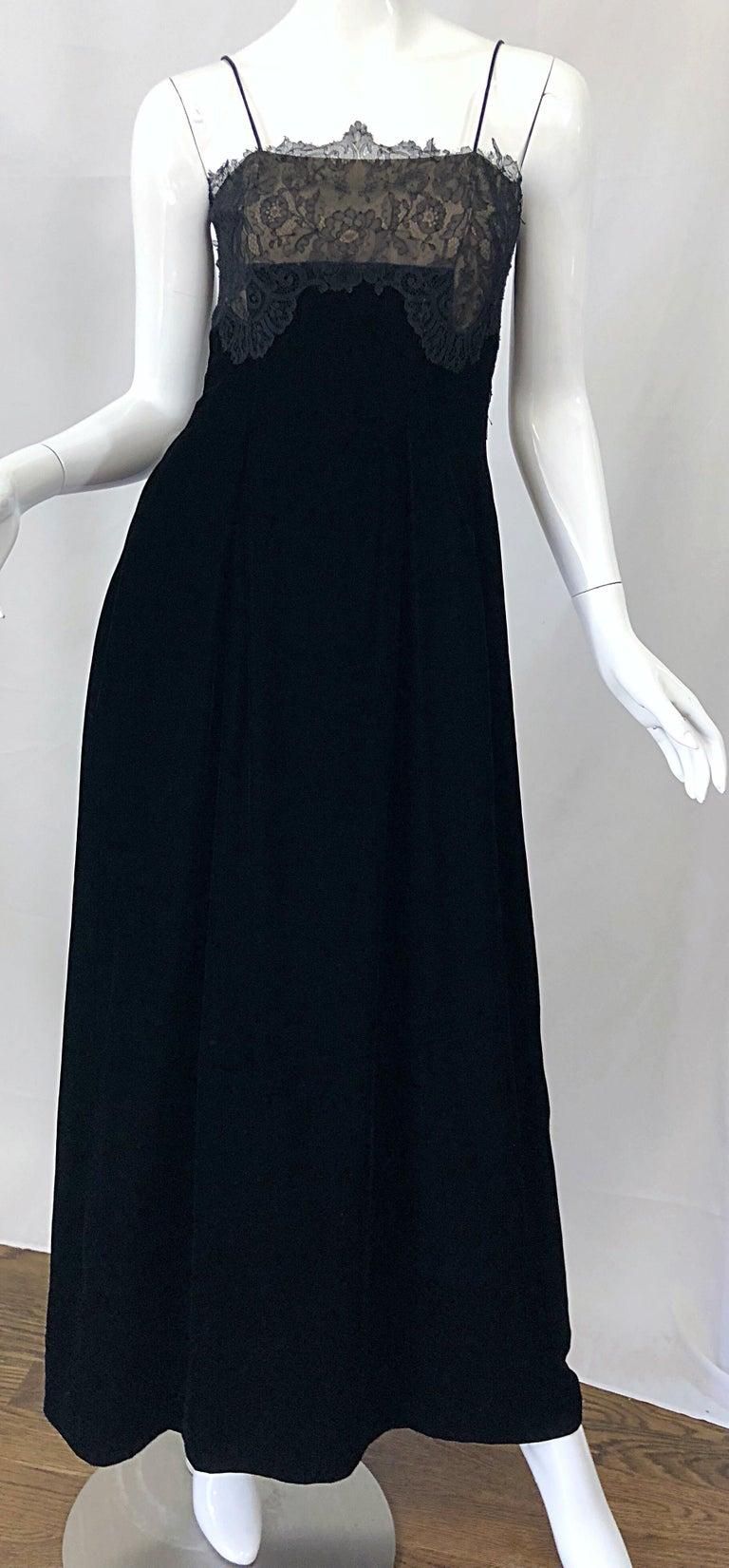 Beautiful Vintage Richilene 1970s Blacks Silk Velvet + Nude Lace Chiffon Gown For Sale 2