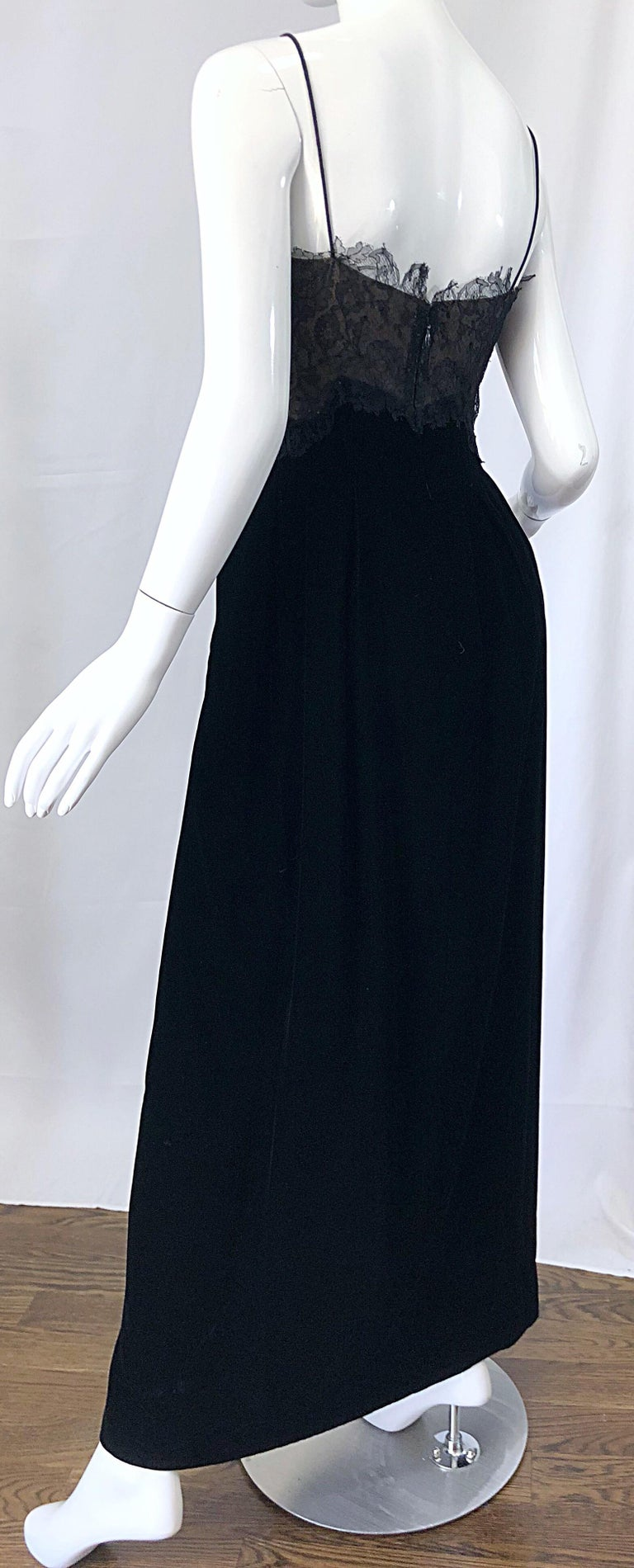 Beautiful Vintage Richilene 1970s Blacks Silk Velvet + Nude Lace Chiffon Gown For Sale 3