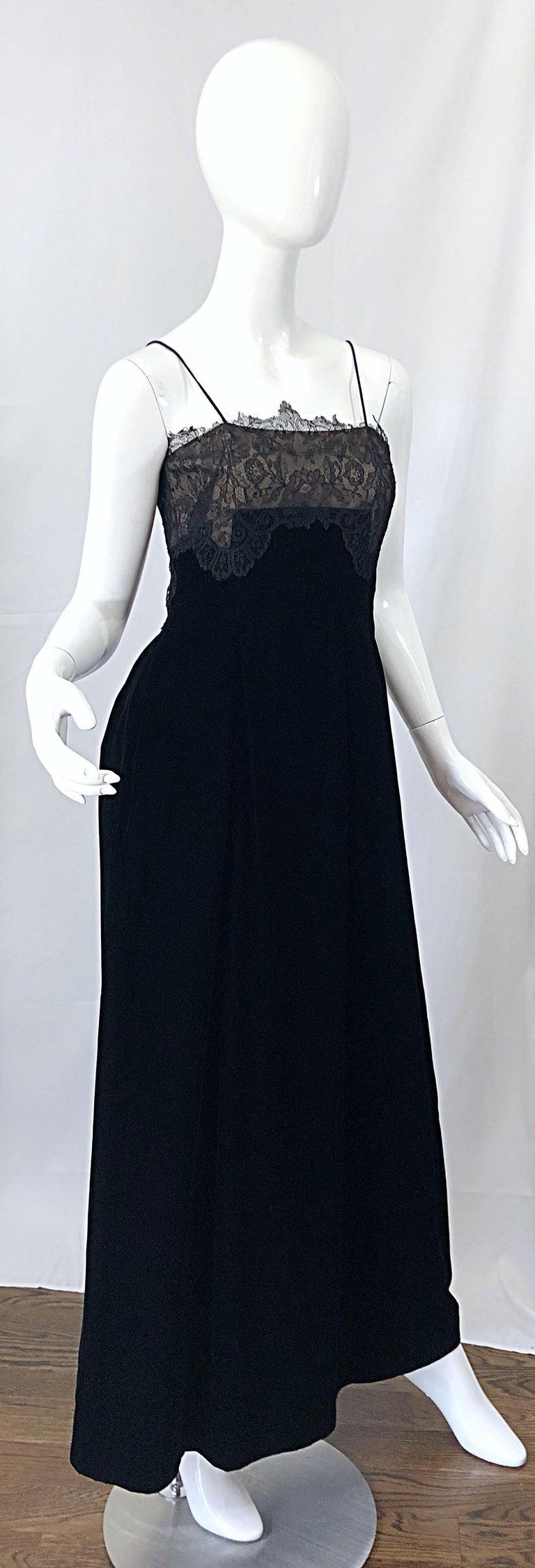 Beautiful Vintage Richilene 1970s Blacks Silk Velvet + Nude Lace Chiffon Gown For Sale 4