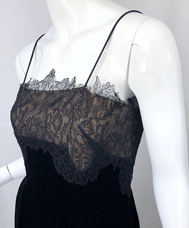 Beautiful Vintage Richilene 1970s Blacks Silk Velvet + Nude Lace Chiffon Gown For Sale 5