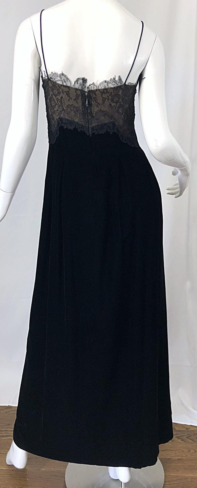 Beautiful Vintage Richilene 1970s Blacks Silk Velvet + Nude Lace Chiffon Gown For Sale 6