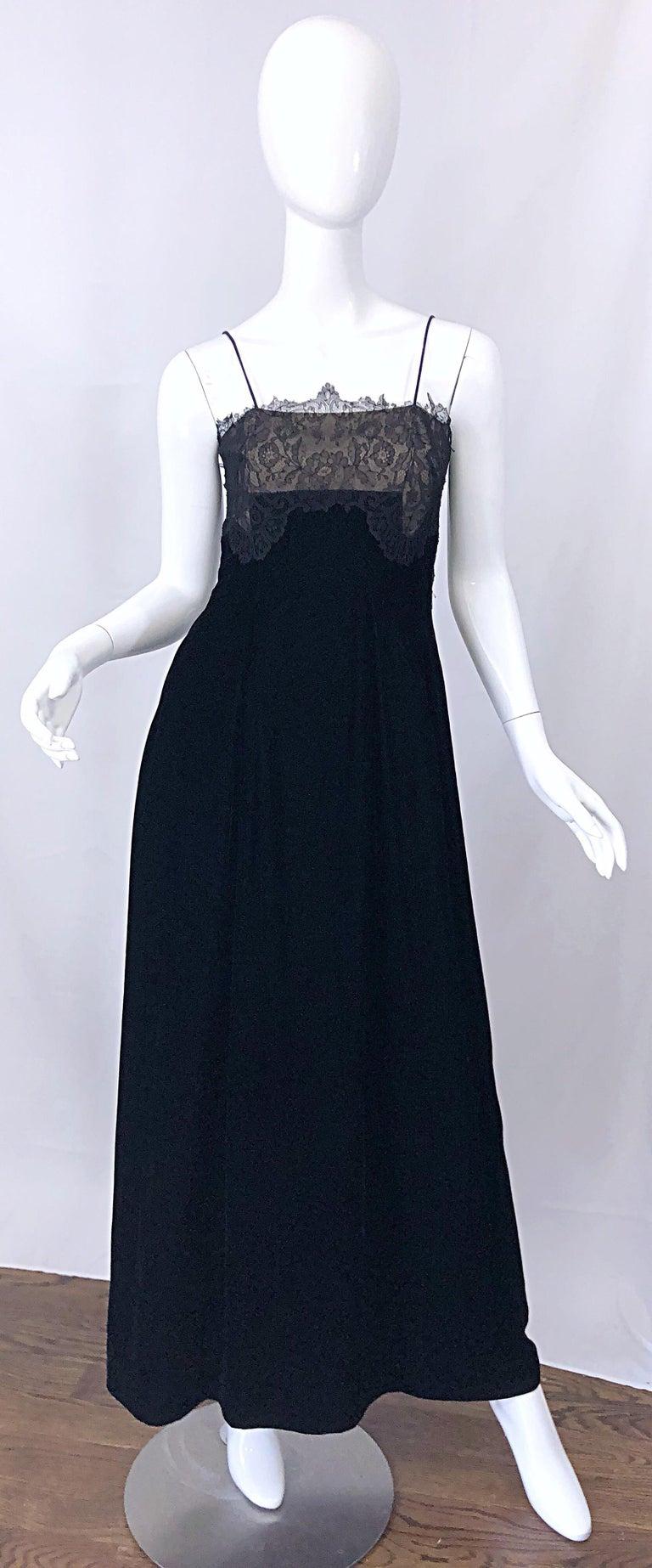Beautiful Vintage Richilene 1970s Blacks Silk Velvet + Nude Lace Chiffon Gown For Sale 7