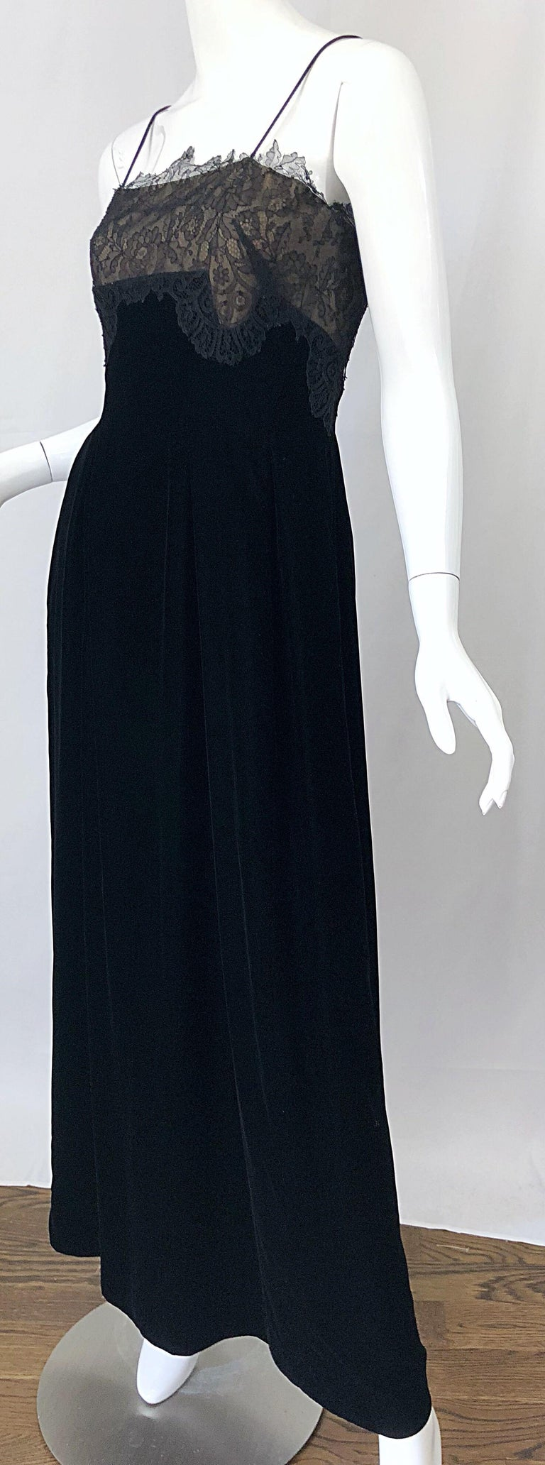 Beautiful Vintage Richilene 1970s Blacks Silk Velvet + Nude Lace Chiffon Gown For Sale 8