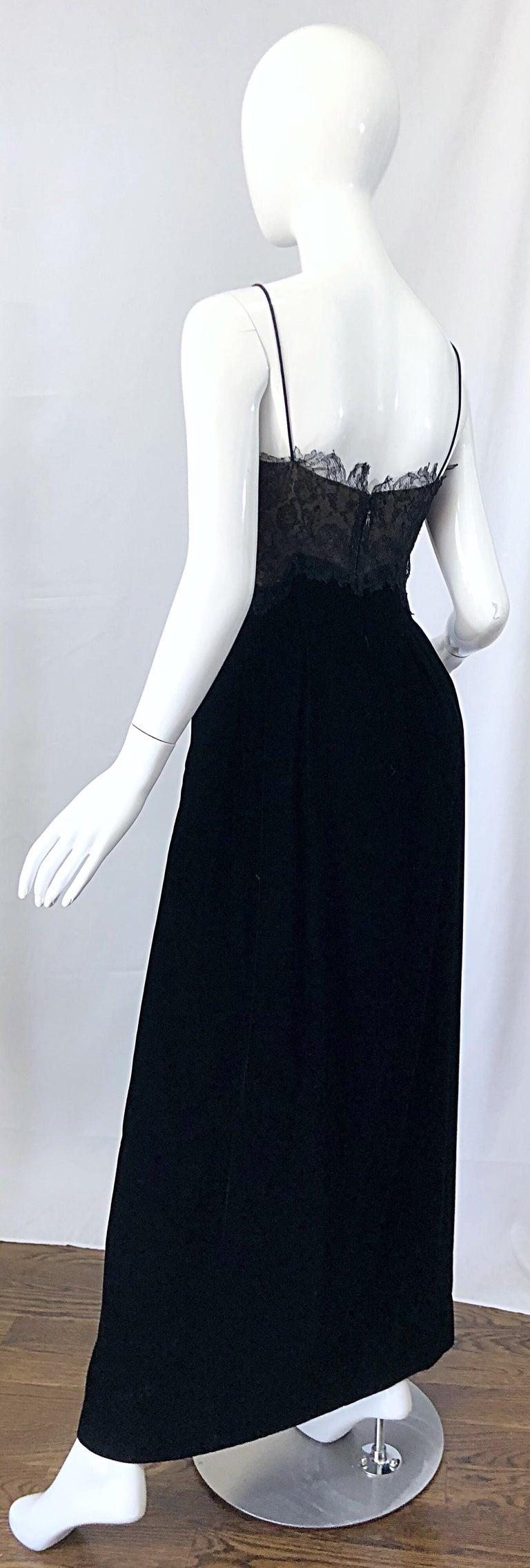 Beautiful Vintage Richilene 1970s Blacks Silk Velvet + Nude Lace Chiffon Gown For Sale 9