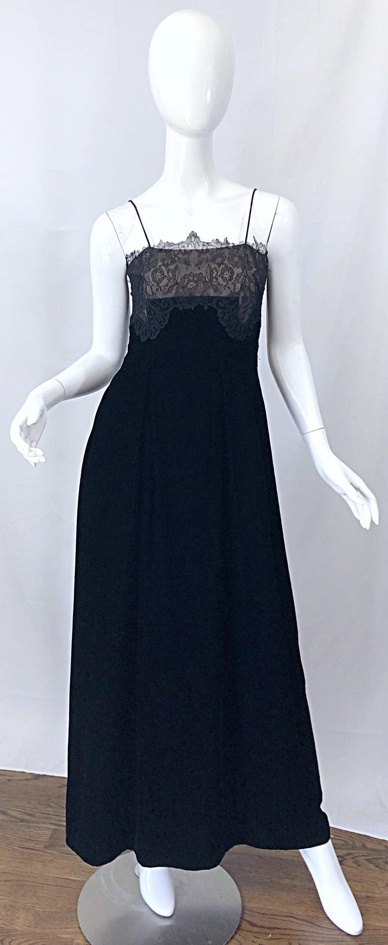 Beautiful Vintage Richilene 1970s Blacks Silk Velvet + Nude Lace Chiffon Gown For Sale 10