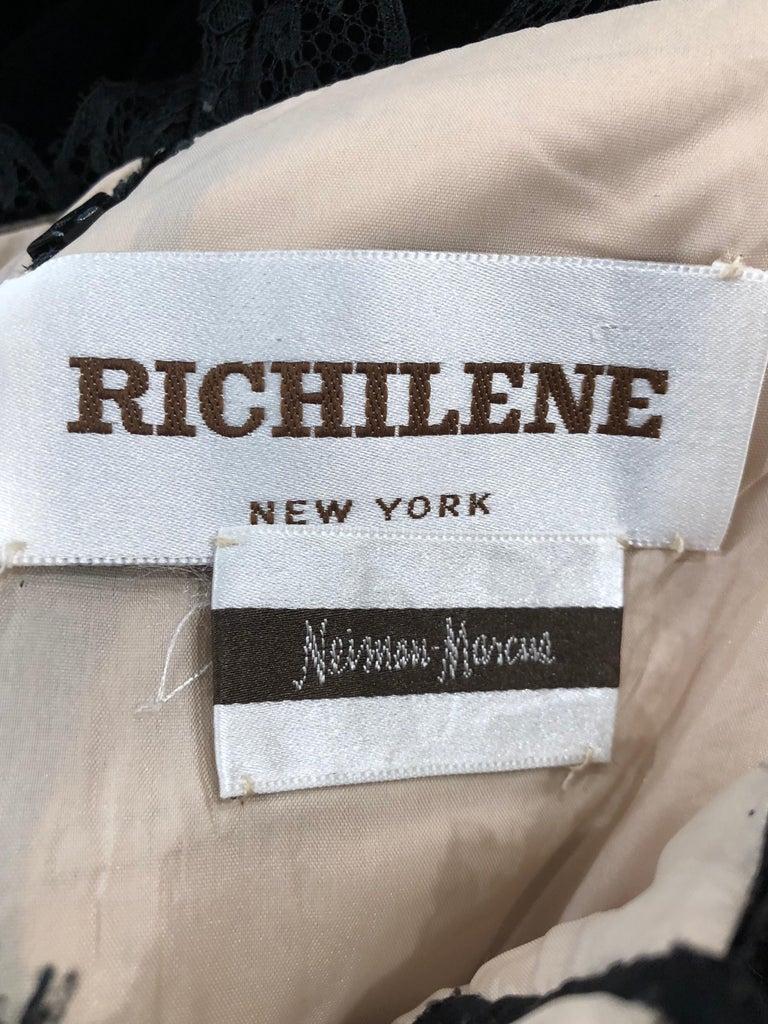 Beautiful Vintage Richilene 1970s Blacks Silk Velvet + Nude Lace Chiffon Gown For Sale 11