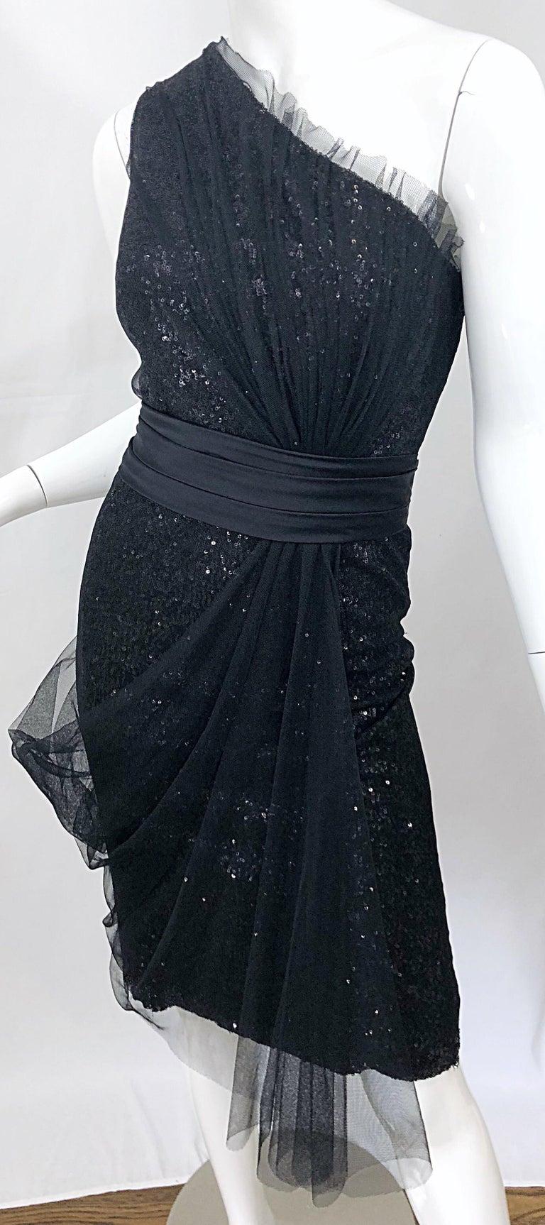 Vintage Liancarlo Couture Size 12 90s Black Silk One Shoulder 1990s Sequin Dress For Sale 2