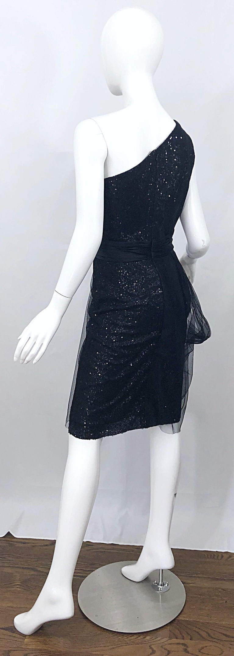 Vintage Liancarlo Couture Size 12 90s Black Silk One Shoulder 1990s Sequin Dress For Sale 3
