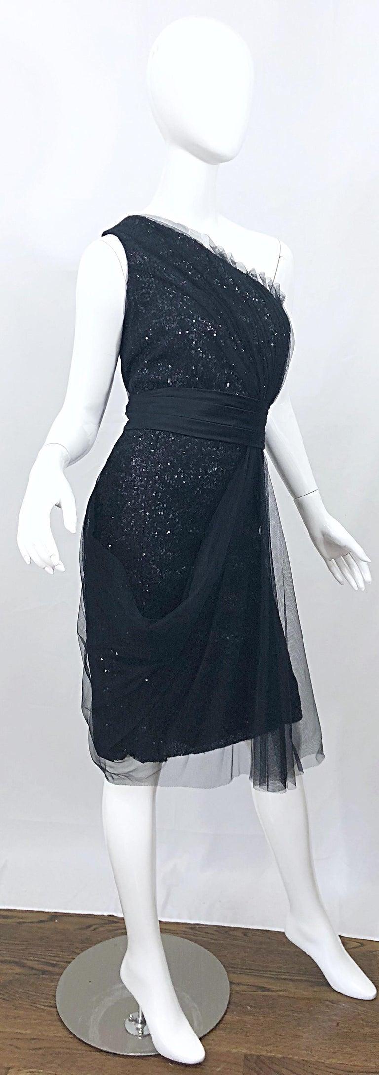 Vintage Liancarlo Couture Size 12 90s Black Silk One Shoulder 1990s Sequin Dress For Sale 5