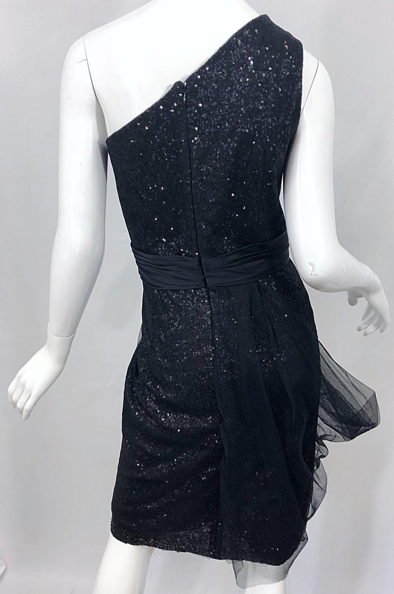 Vintage Liancarlo Couture Size 12 90s Black Silk One Shoulder 1990s Sequin Dress For Sale 6