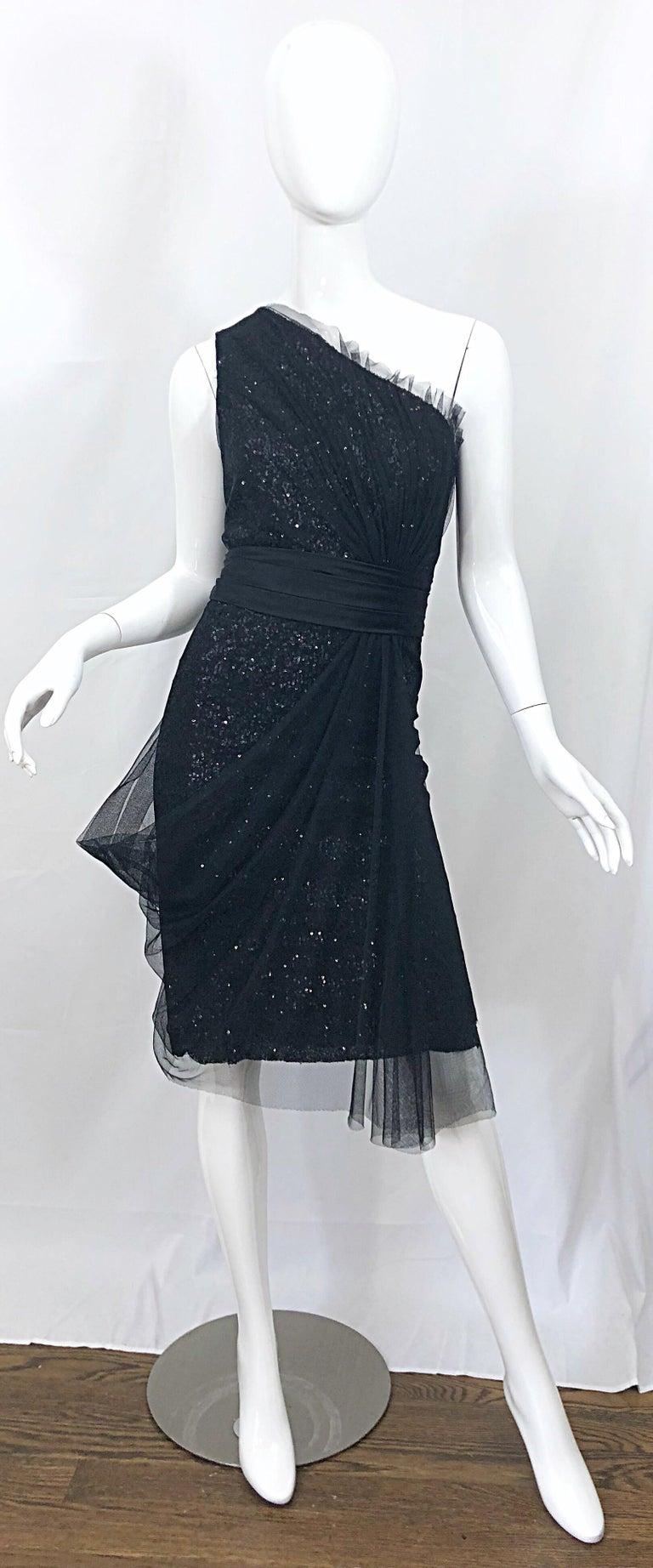 Vintage Liancarlo Couture Size 12 90s Black Silk One Shoulder 1990s Sequin Dress For Sale 9