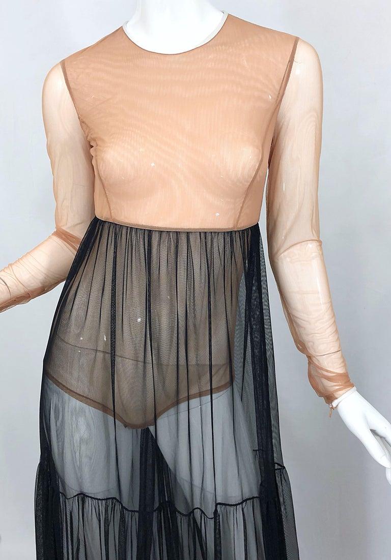 Women's Michael Kors Collection Sz 4 Nude + Black Sheer Runway Mesh Bodysuit Gown Dress For Sale