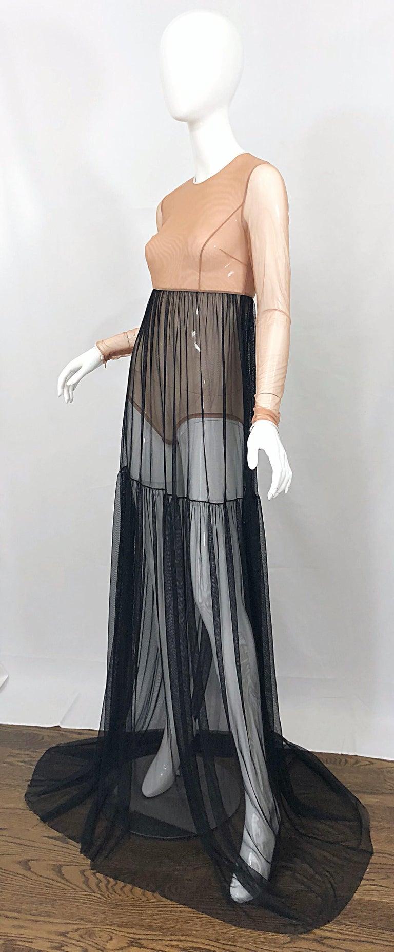 Michael Kors Collection Sz 4 Nude + Black Sheer Runway Mesh Bodysuit Gown Dress For Sale 1