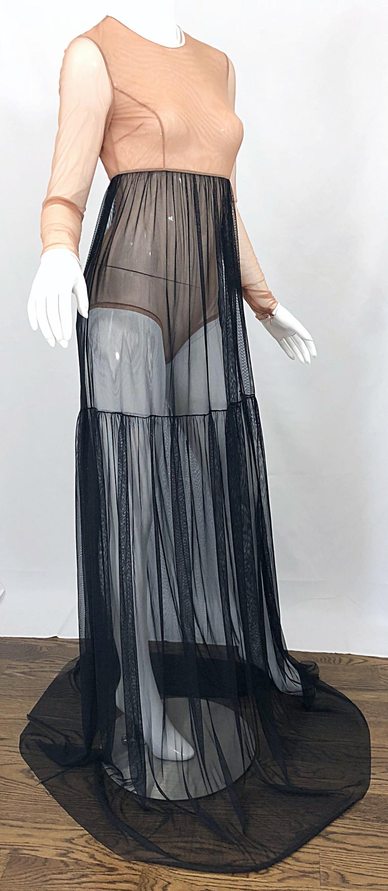 Michael Kors Collection Sz 4 Nude + Black Sheer Runway Mesh Bodysuit Gown Dress For Sale 2