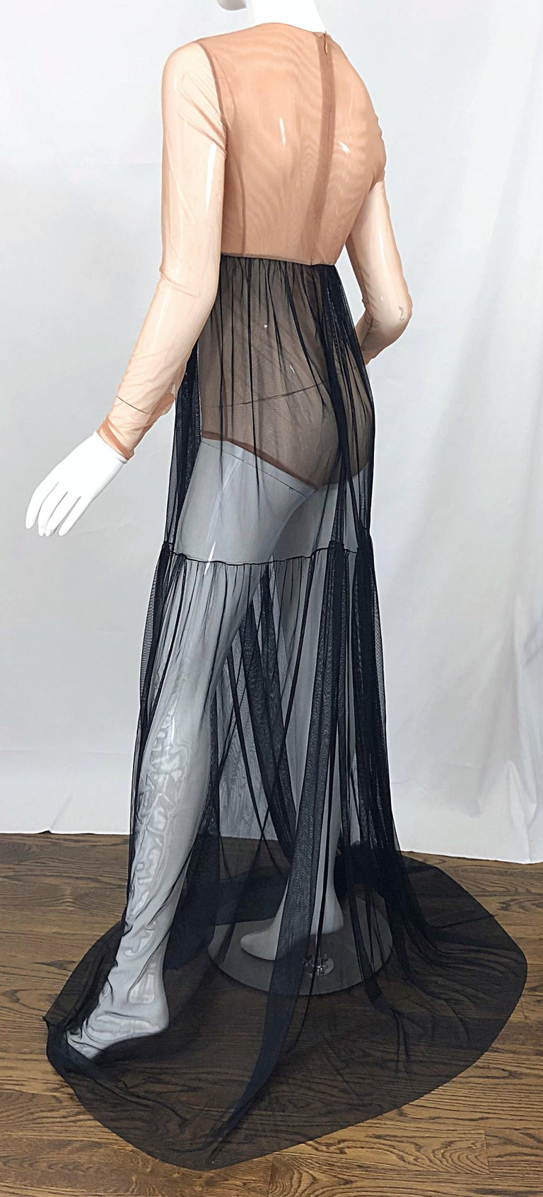 Michael Kors Collection Sz 4 Nude + Black Sheer Runway Mesh Bodysuit Gown Dress For Sale 3