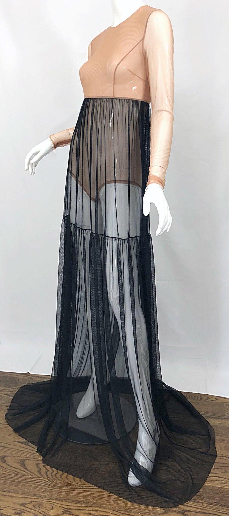 Michael Kors Collection Sz 4 Nude + Black Sheer Runway Mesh Bodysuit Gown Dress For Sale 4