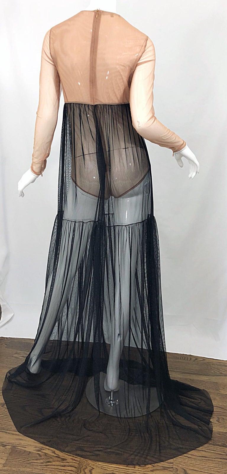 Michael Kors Collection Sz 4 Nude + Black Sheer Runway Mesh Bodysuit Gown Dress For Sale 5