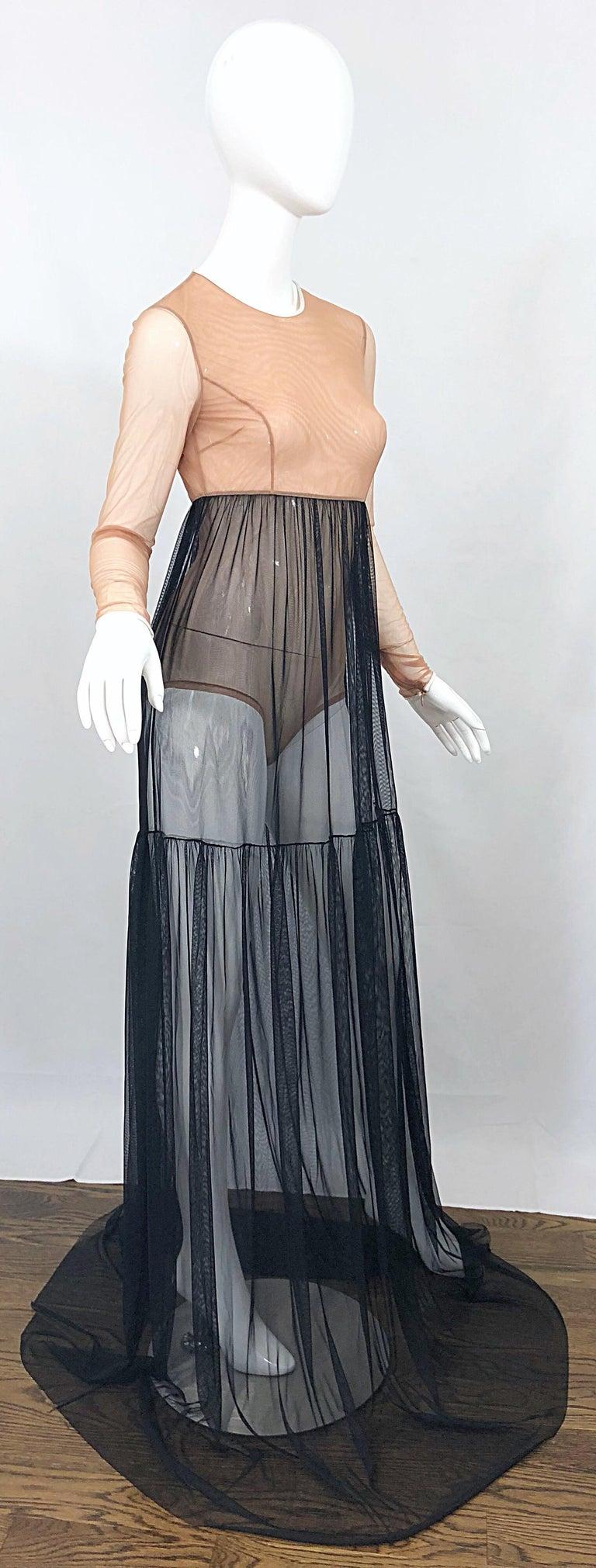 Michael Kors Collection Sz 4 Nude + Black Sheer Runway Mesh Bodysuit Gown Dress For Sale 6