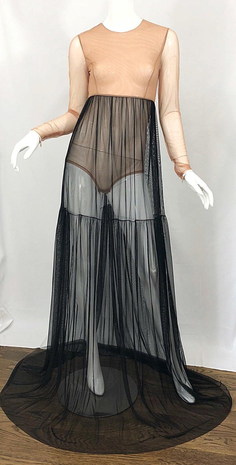 Michael Kors Collection Sz 4 Nude + Black Sheer Runway Mesh Bodysuit Gown Dress For Sale 7