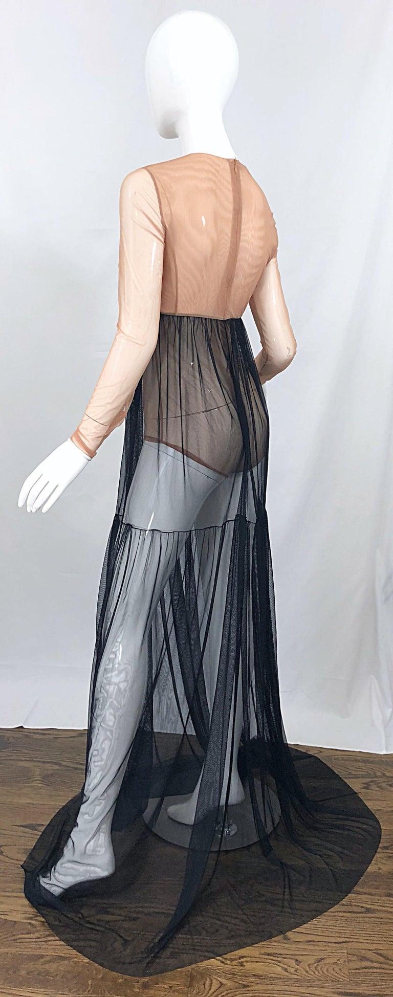 Michael Kors Collection Sz 4 Nude + Black Sheer Runway Mesh Bodysuit Gown Dress For Sale 8