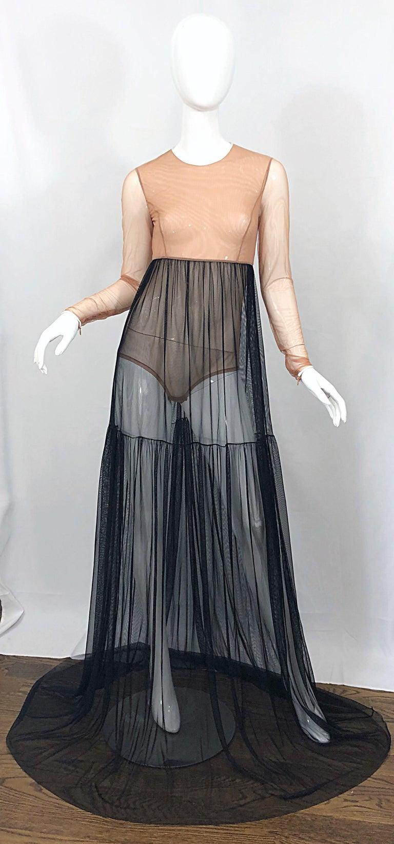 Michael Kors Collection Sz 4 Nude + Black Sheer Runway Mesh Bodysuit Gown Dress For Sale 9