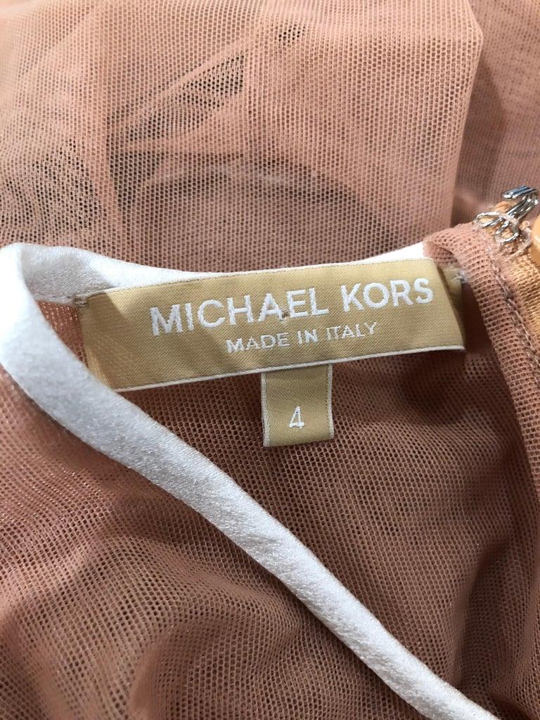 Michael Kors Collection Sz 4 Nude + Black Sheer Runway Mesh Bodysuit Gown Dress For Sale 10