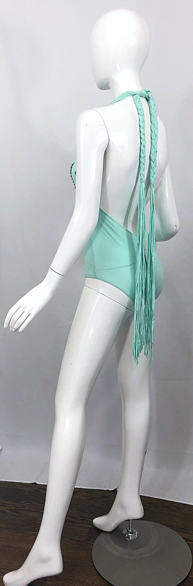 Rare Spring 2003 Dolce & Gabbana Teal Blue Sequined One Piece Fringe Bodysuit For Sale 8