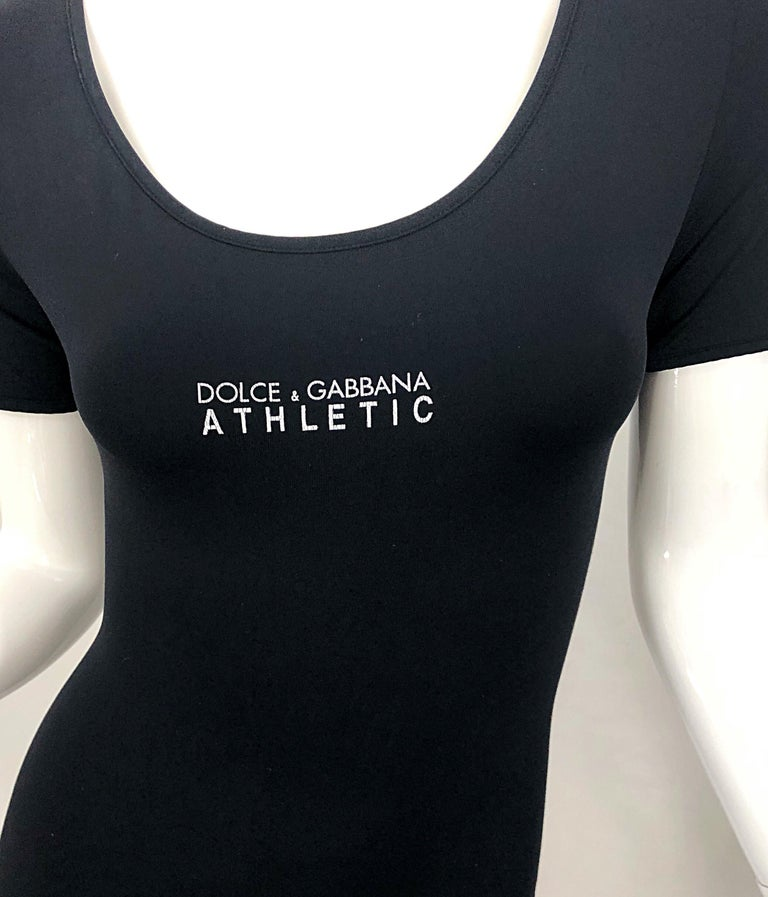 1990s Dolce & Gabbana Black and White Athletic One Piece Vintage 90s Jumpsuit In New Condition For Sale In Chicago, IL