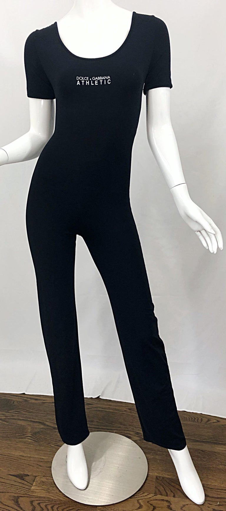 1990s Dolce & Gabbana Black and White Athletic One Piece Vintage 90s Jumpsuit For Sale 4