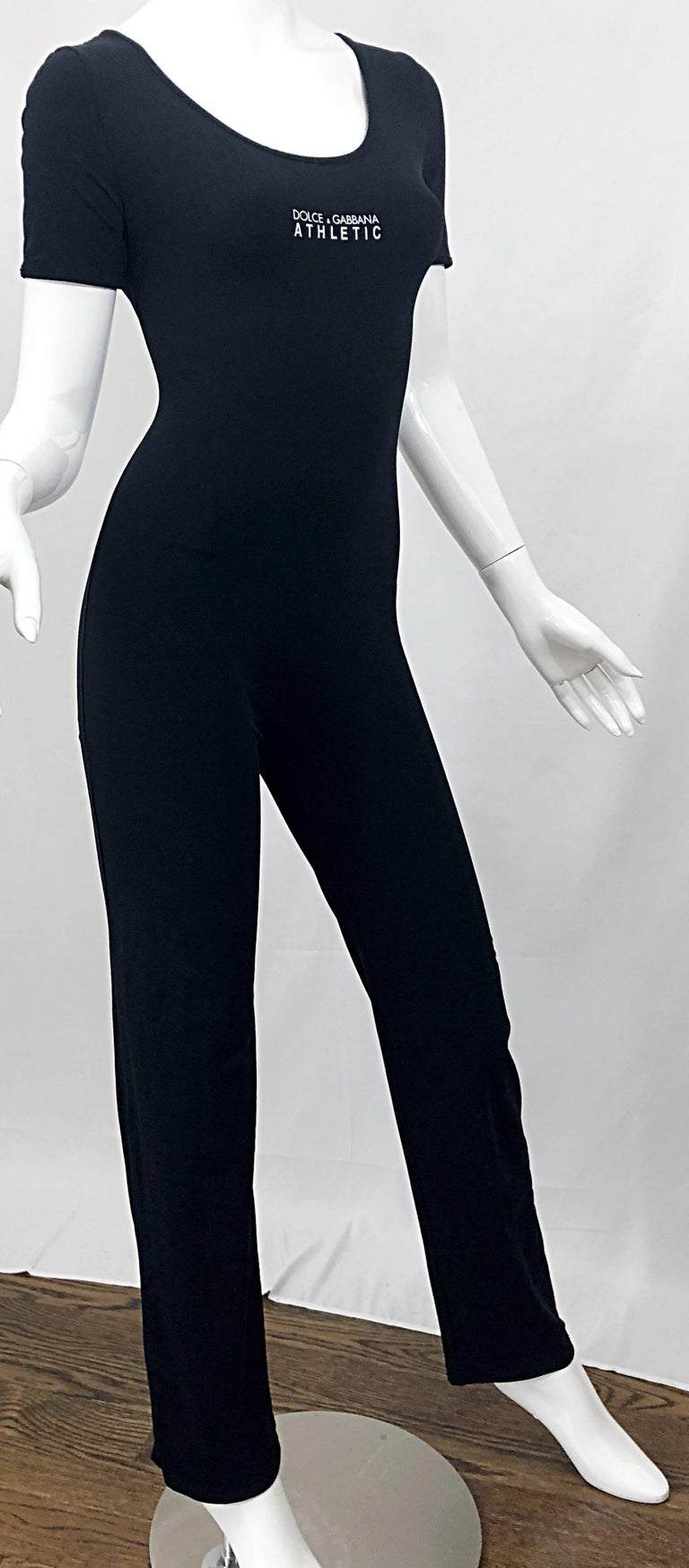 1990s Dolce & Gabbana Black and White Athletic One Piece Vintage 90s Jumpsuit For Sale 5
