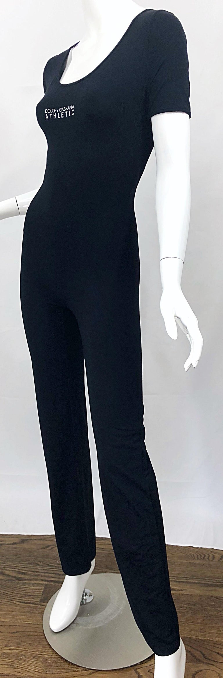 1990s Dolce & Gabbana Black and White Athletic One Piece Vintage 90s Jumpsuit For Sale 7