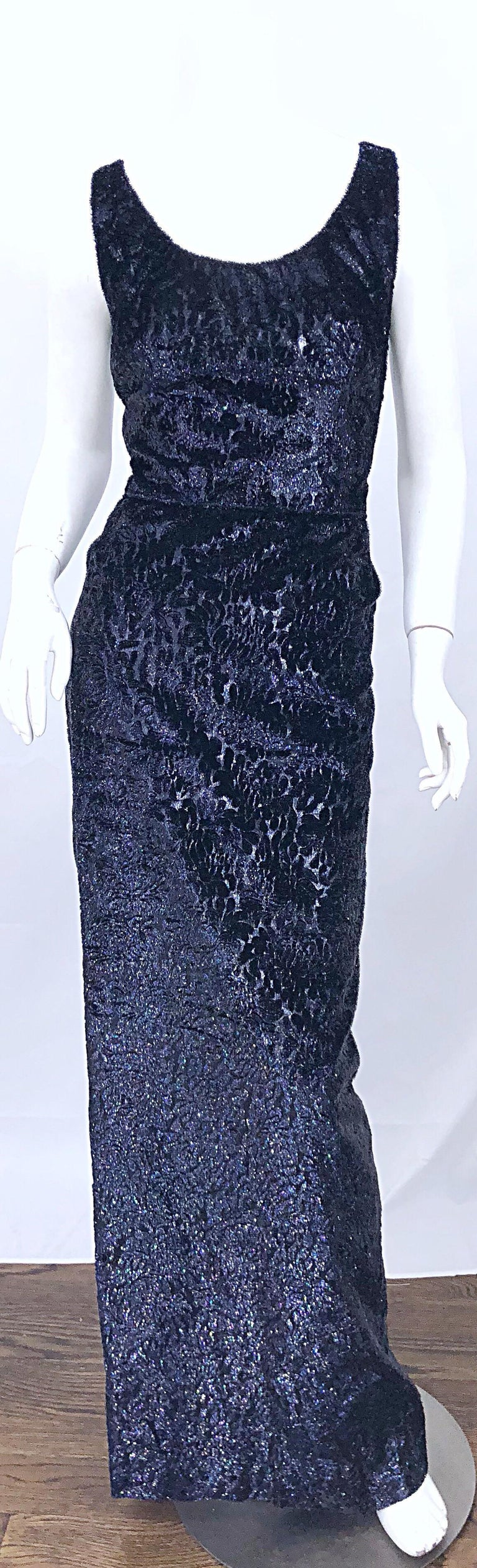 Beautiful vintage 90s anonymous couture grade black + purple metallic cut-out silk velvet lurex gown! Shines with multi colors that give off a purple sheen. Insanely well made, with so much attention to detail. All interior labels have been removed,