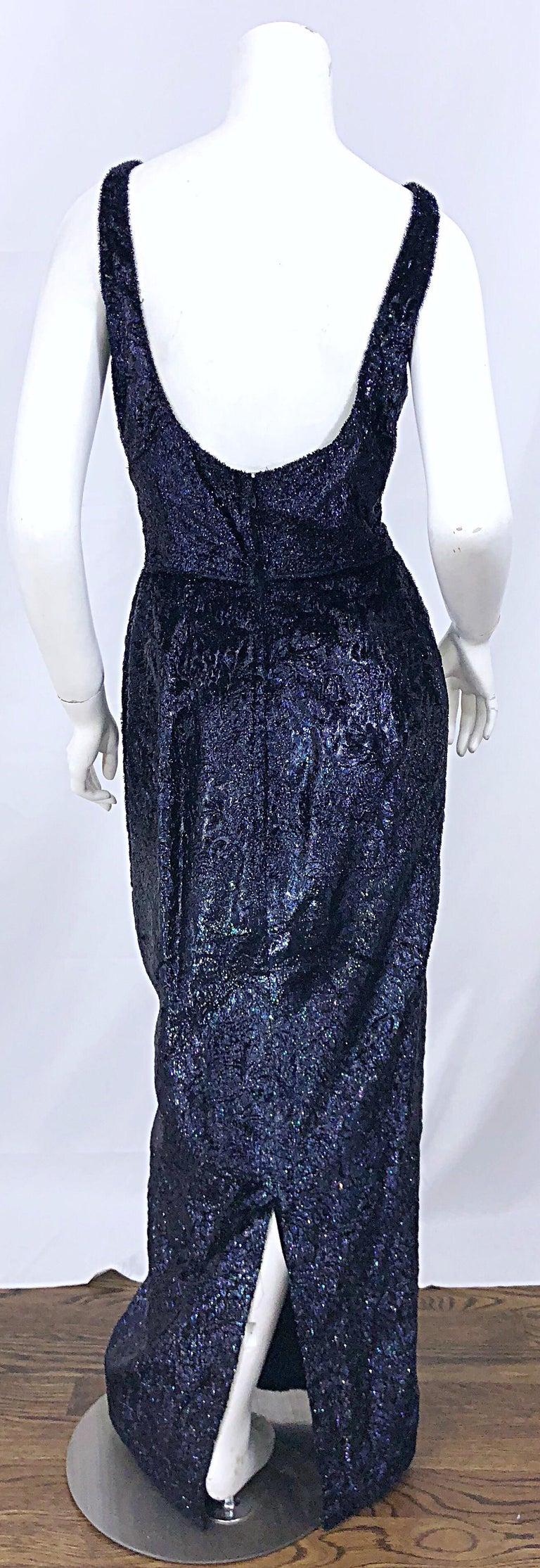 Women's Anonymous Couture 1990s Black Purple Size 6 Metallic Cut Silk Velvet Lurex Gown For Sale