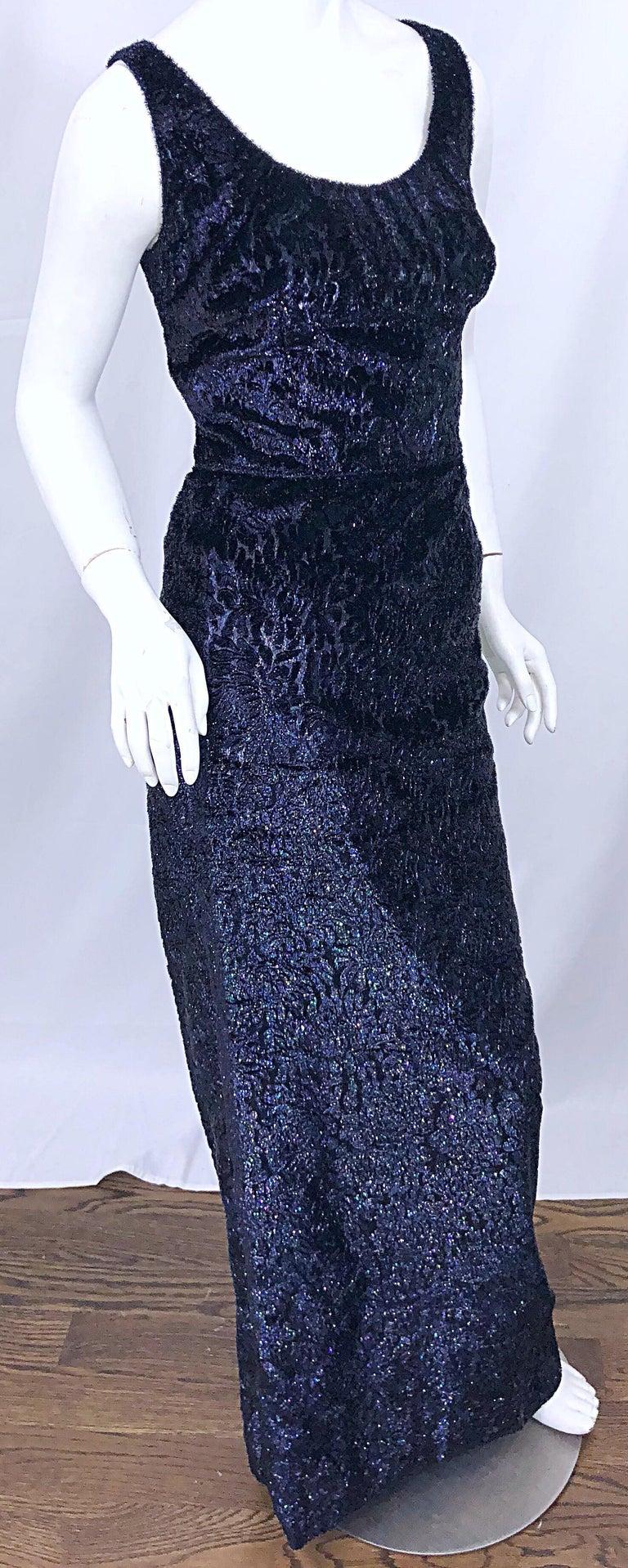 Anonymous Couture 1990s Black Purple Size 6 Metallic Cut Silk Velvet Lurex Gown For Sale 1