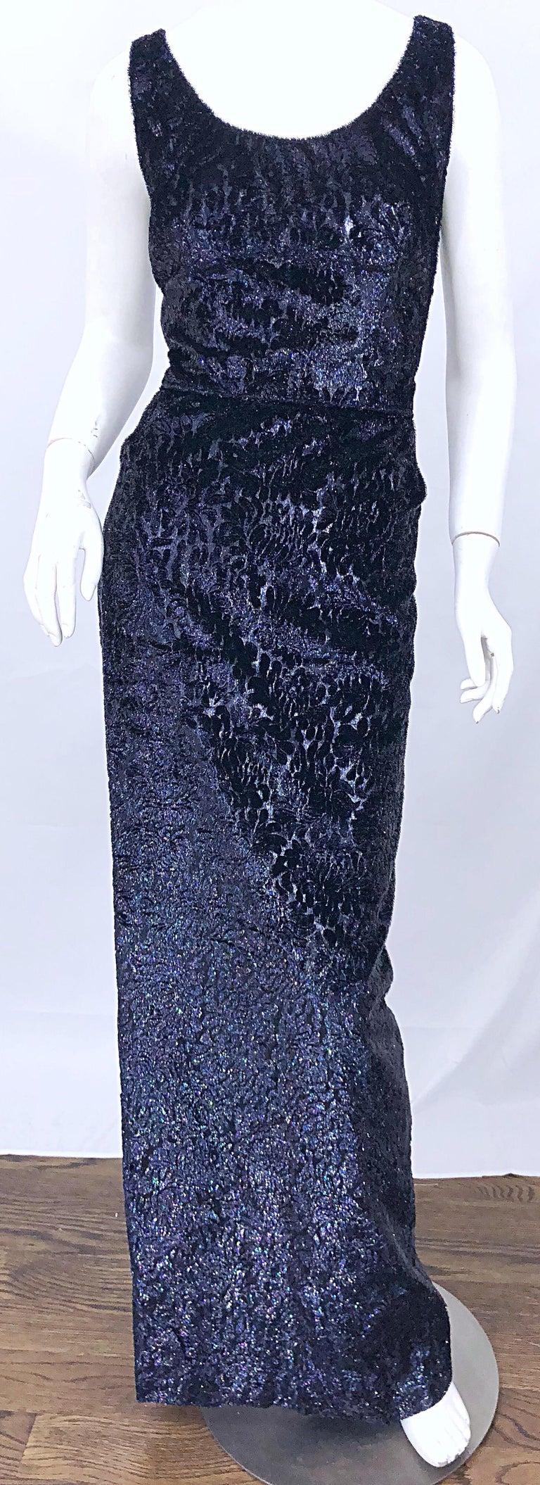 Anonymous Couture 1990s Black Purple Size 6 Metallic Cut Silk Velvet Lurex Gown For Sale 2