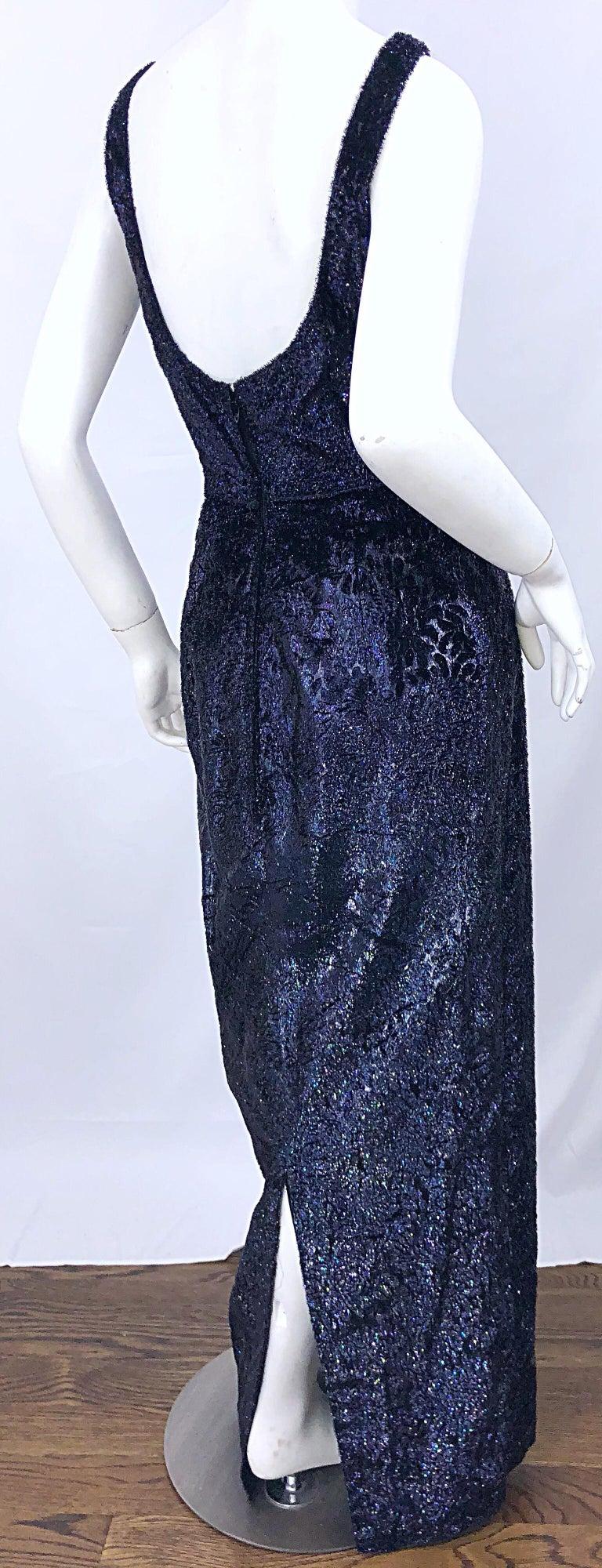 Anonymous Couture 1990s Black Purple Size 6 Metallic Cut Silk Velvet Lurex Gown For Sale 3