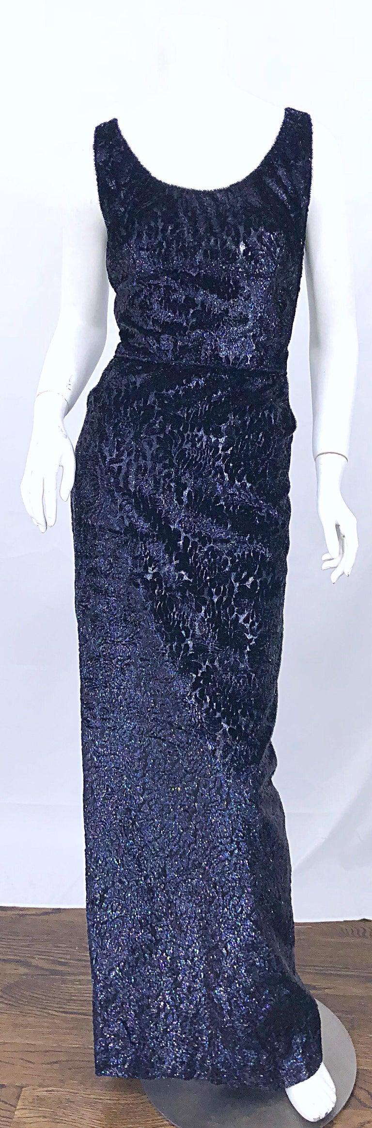 Anonymous Couture 1990s Black Purple Size 6 Metallic Cut Silk Velvet Lurex Gown For Sale 4