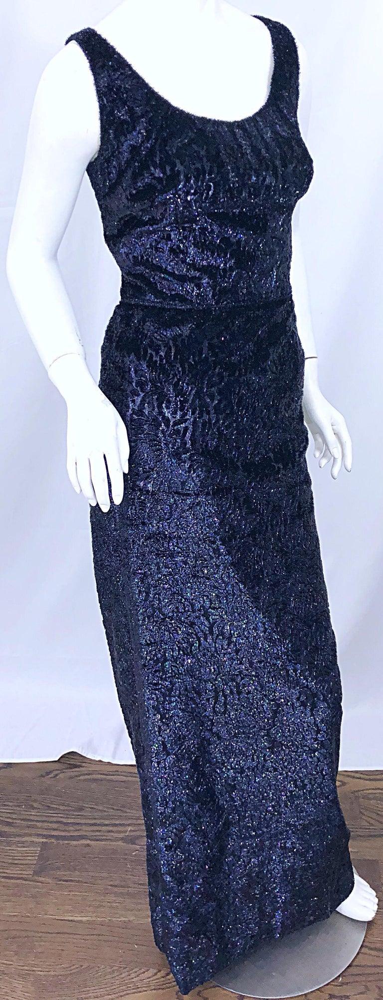 Anonymous Couture 1990s Black Purple Size 6 Metallic Cut Silk Velvet Lurex Gown For Sale 5