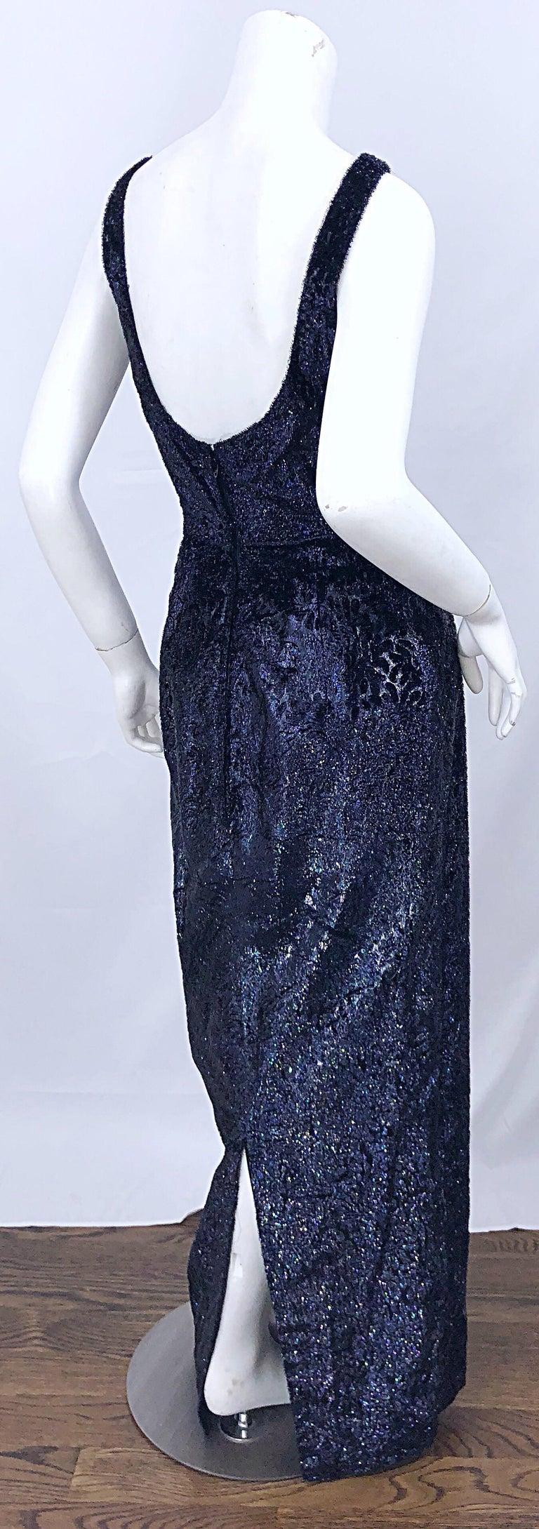 Anonymous Couture 1990s Black Purple Size 6 Metallic Cut Silk Velvet Lurex Gown For Sale 6