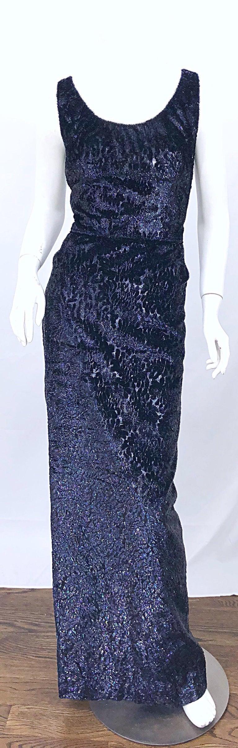 Anonymous Couture 1990s Black Purple Size 6 Metallic Cut Silk Velvet Lurex Gown For Sale 7
