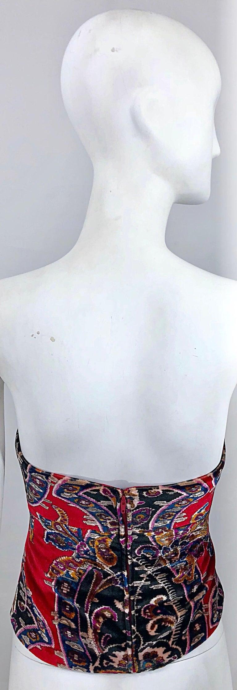 ef31eb5d4b8ca Black Vintage Lillie Rubin 1990s Size 2 / 4 Red Velvet Tapestry Strapless Bustier  Top For