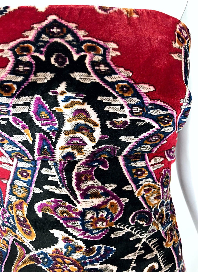 aa9025b50c684 Vintage Lillie Rubin 1990s Size 2 / 4 Red Velvet Tapestry Strapless Bustier  Top In Excellent