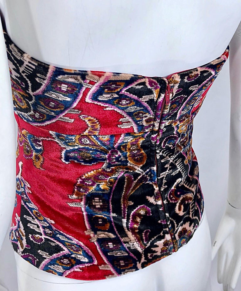 ae28ad8209537 Vintage Lillie Rubin 1990s Size 2 / 4 Red Velvet Tapestry Strapless Bustier  Top For Sale