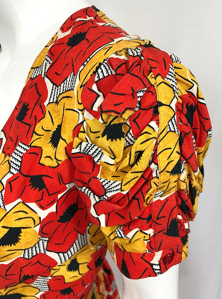 Women's Yves Saint Laurent YSL Size 42 / 10 Yellow + Red Poppy Print Drop Waist Dress For Sale