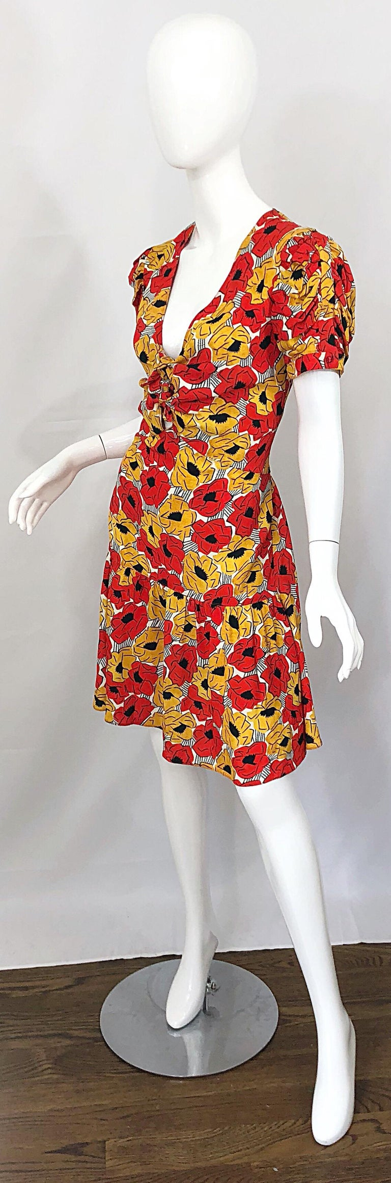 Yves Saint Laurent YSL Size 42 / 10 Yellow + Red Poppy Print Drop Waist Dress For Sale 1