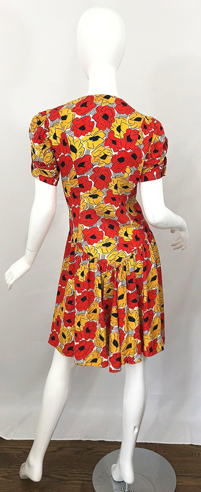 Yves Saint Laurent YSL Size 42 / 10 Yellow + Red Poppy Print Drop Waist Dress For Sale 2