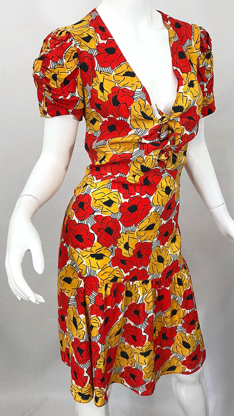 Yves Saint Laurent YSL Size 42 / 10 Yellow + Red Poppy Print Drop Waist Dress For Sale 3