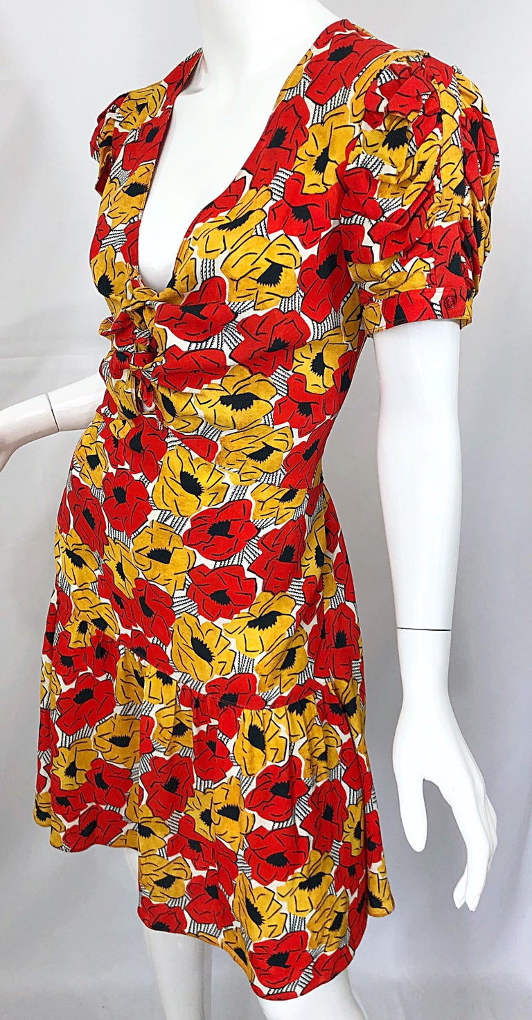 Yves Saint Laurent YSL Size 42 / 10 Yellow + Red Poppy Print Drop Waist Dress For Sale 5