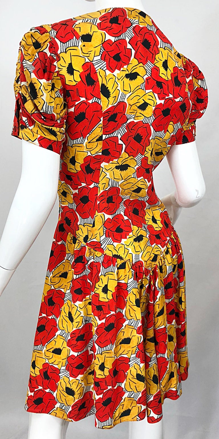 Yves Saint Laurent YSL Size 42 / 10 Yellow + Red Poppy Print Drop Waist Dress For Sale 6
